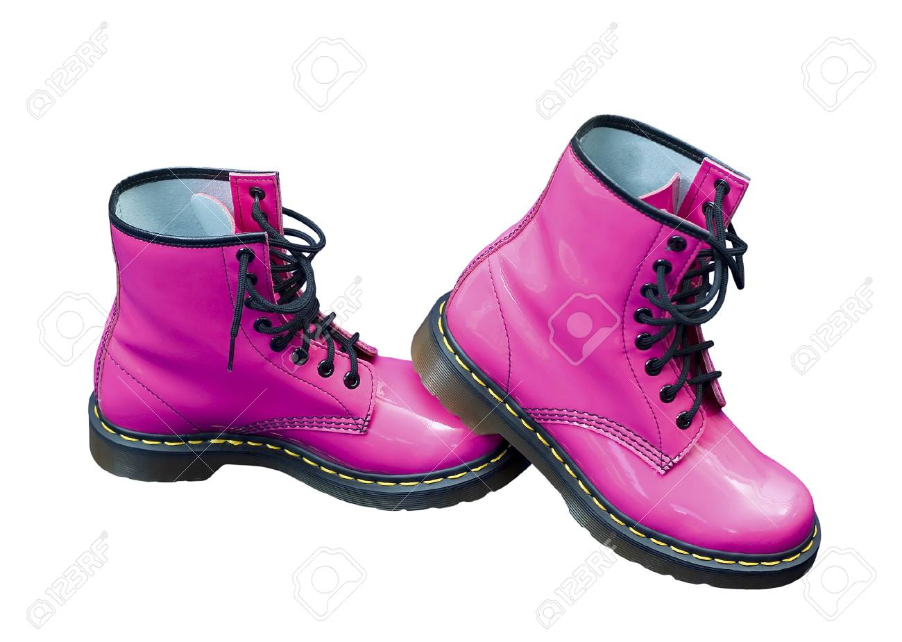 Hot Pink Protective Safety Boots On An