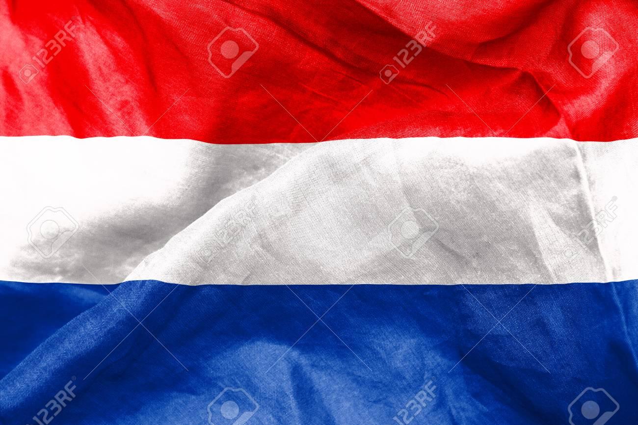La Trama Di Bandiera Olandese Accartocciò Foto Royalty Free