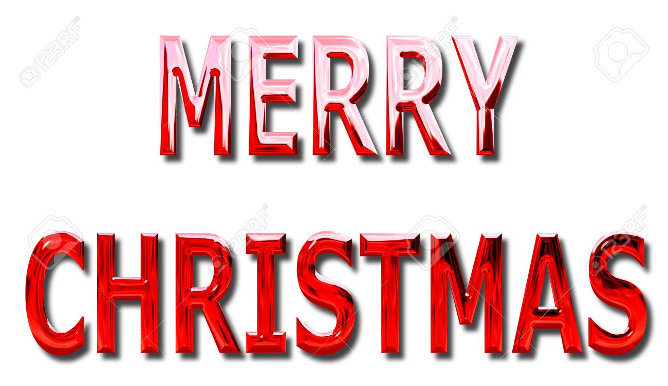 Merry Christmas Message In Red Chrome Wording On An Isolated Stock