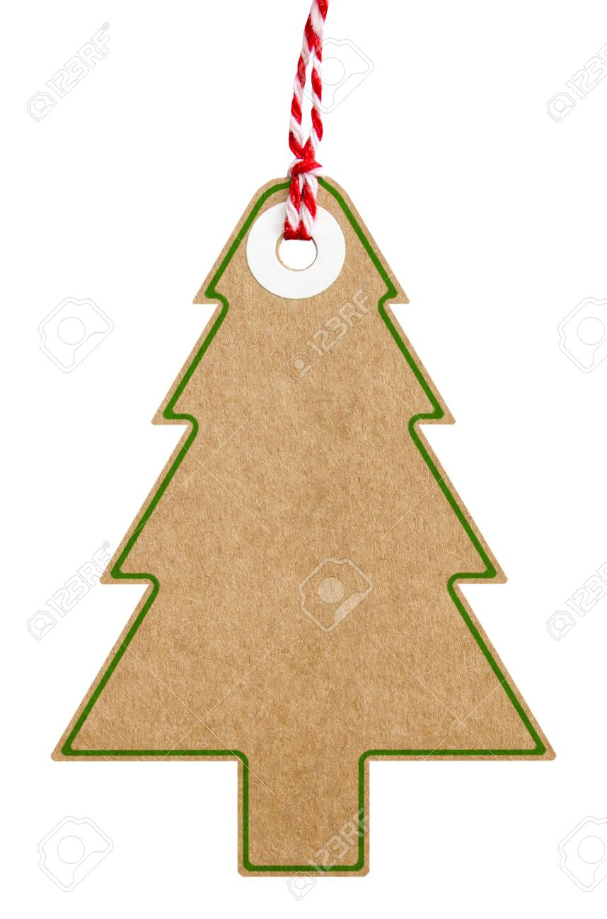 Christmas Tree Shape Cardboard Gift Tag With Green Border And