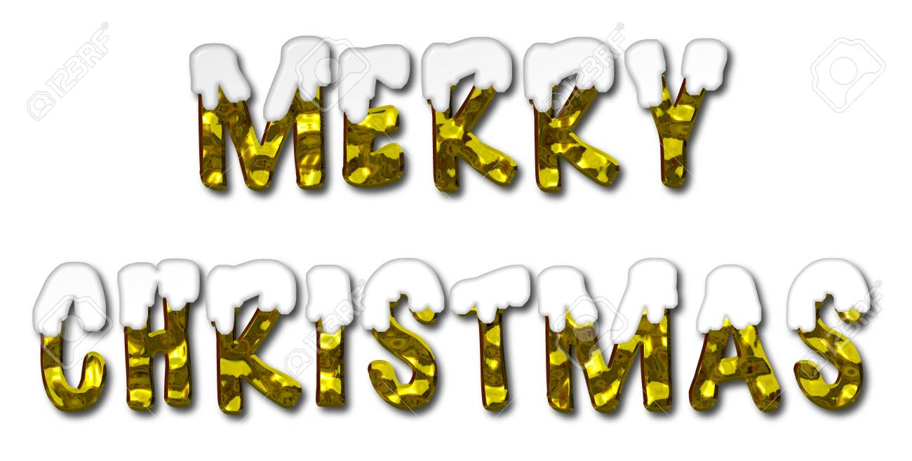 Merry christmas 3d illustration message in gold letters covered merry christmas 3d illustration message in gold letters covered in snow on an isolated white background madrichimfo Images