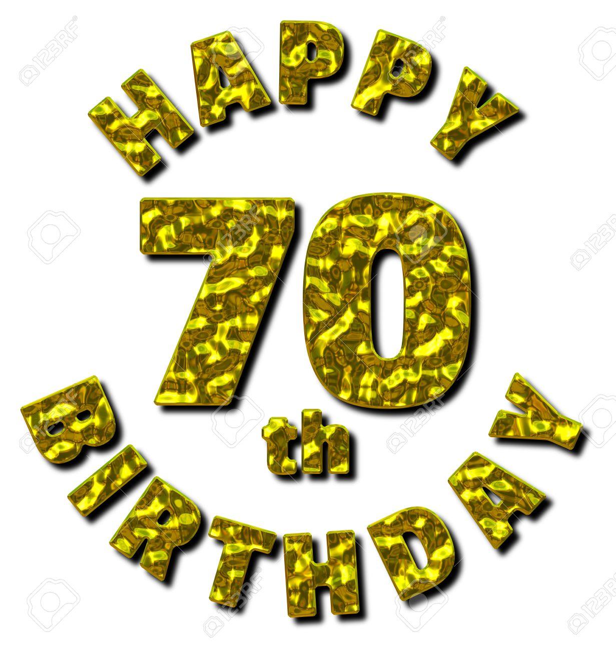 Happy 70th Birthday Nachricht Mit Einem Goldenen Metallischen Effekt 3D Darstellung Auf Weissem Hintergrund Standard