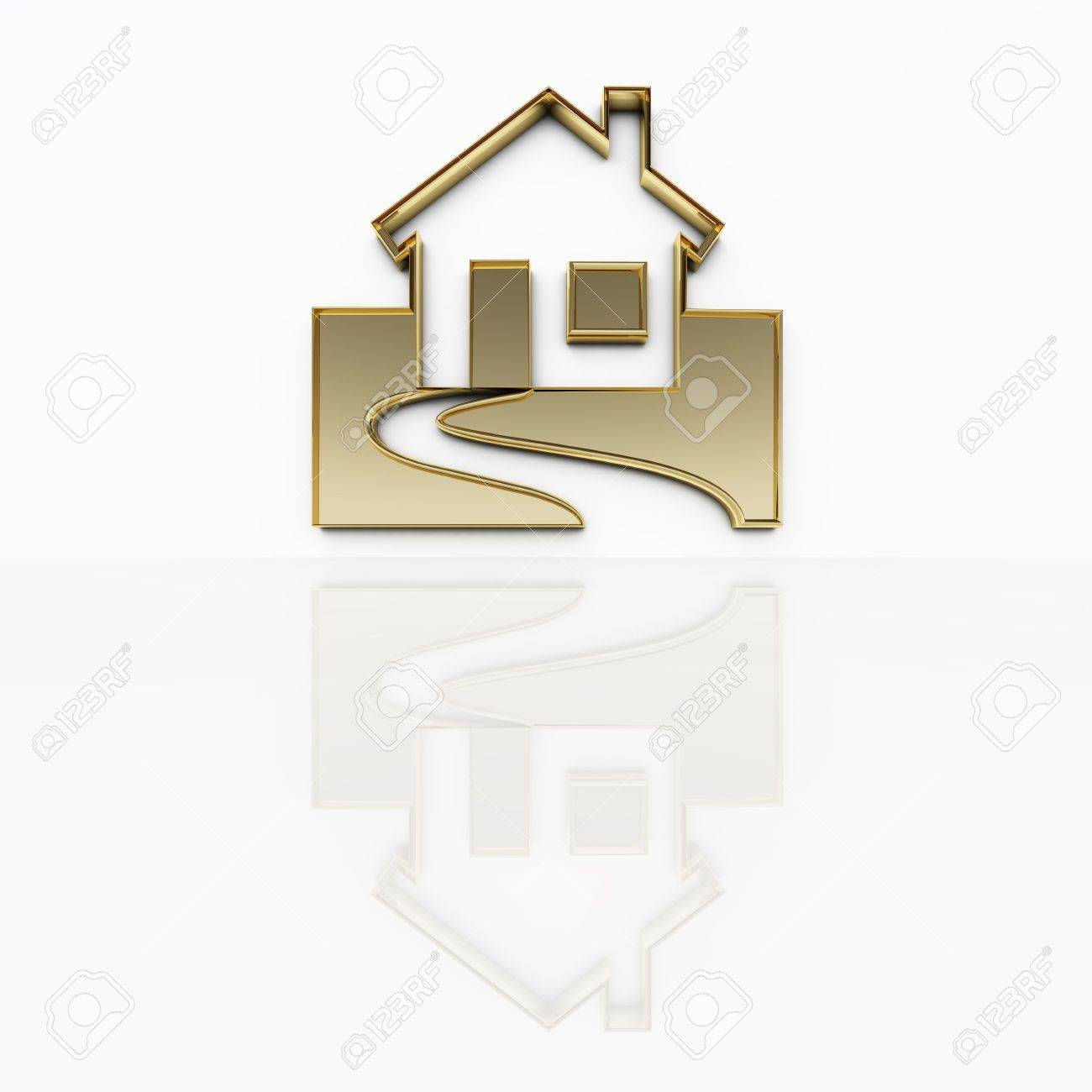 An illustration of a house in gold Stock Photo - 5100154