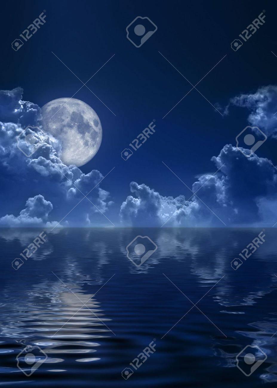 The dark blue sky and the full moon Stock Photo - 5569635