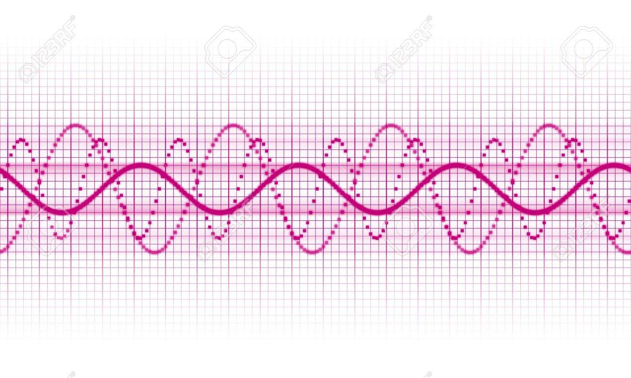 a pink sound wave on white background Stock Photo - 7474296
