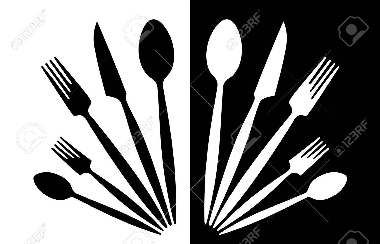 A set of tableware black and white Stock Photo - 7697067