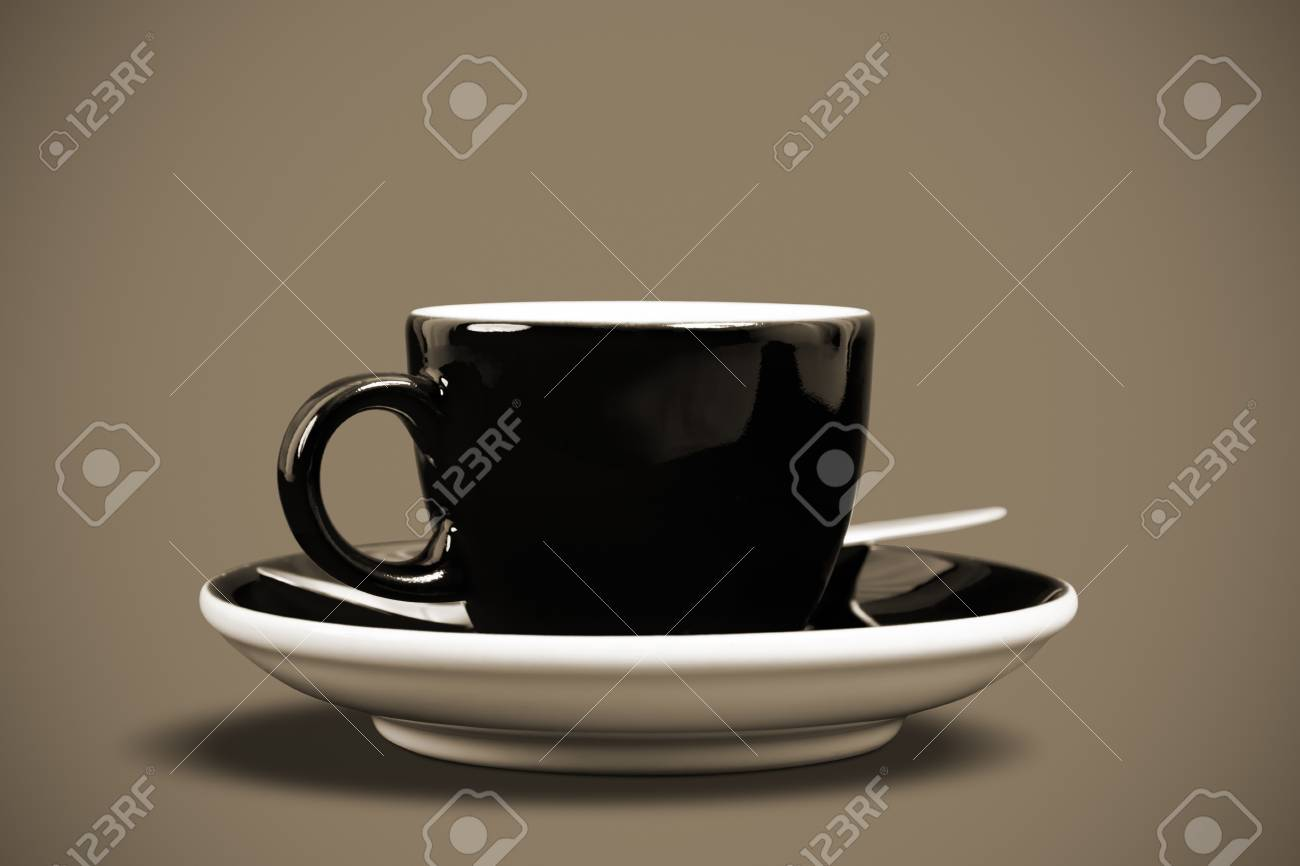 A cup of coffee with on black background Stock Photo - 8380101