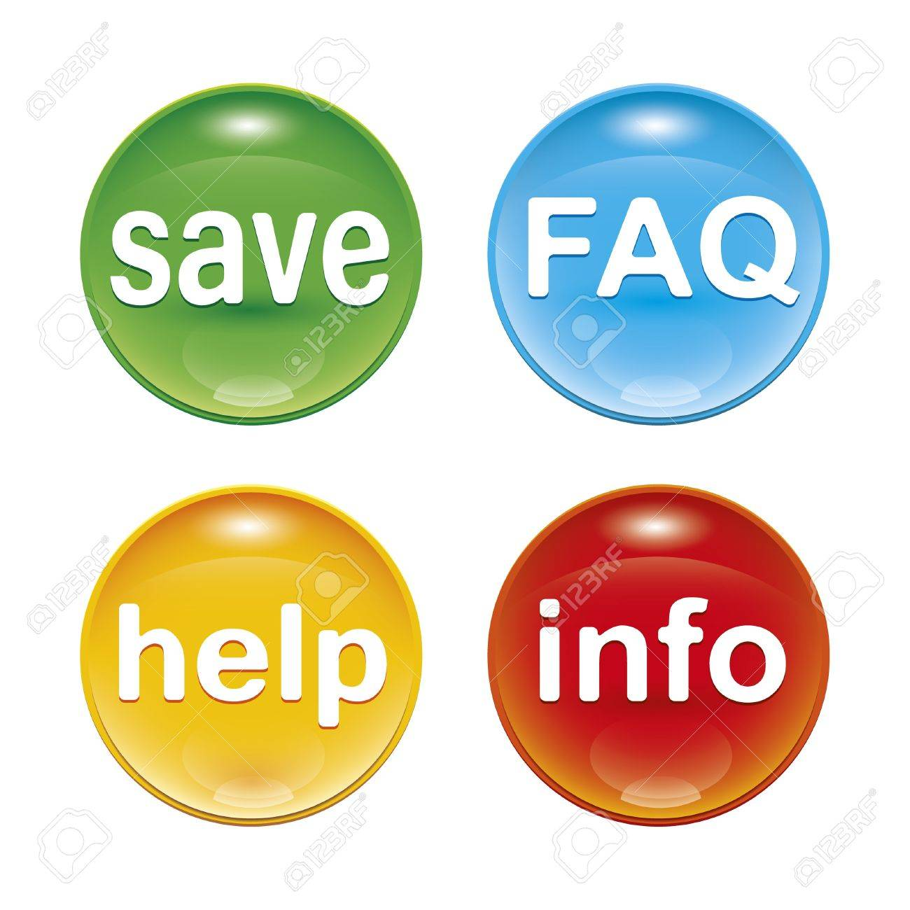 four glossy web icons with the word save FAQ help info Stock Photo - 8554683