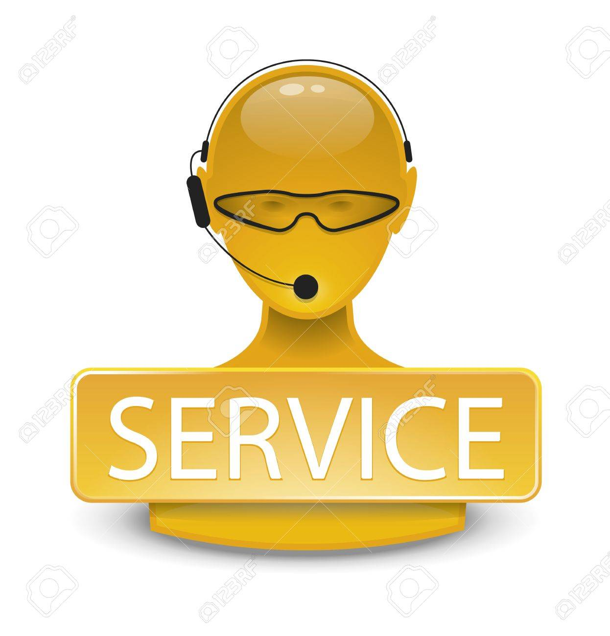 An image of a yellow service web icon Stock Photo - 8602301