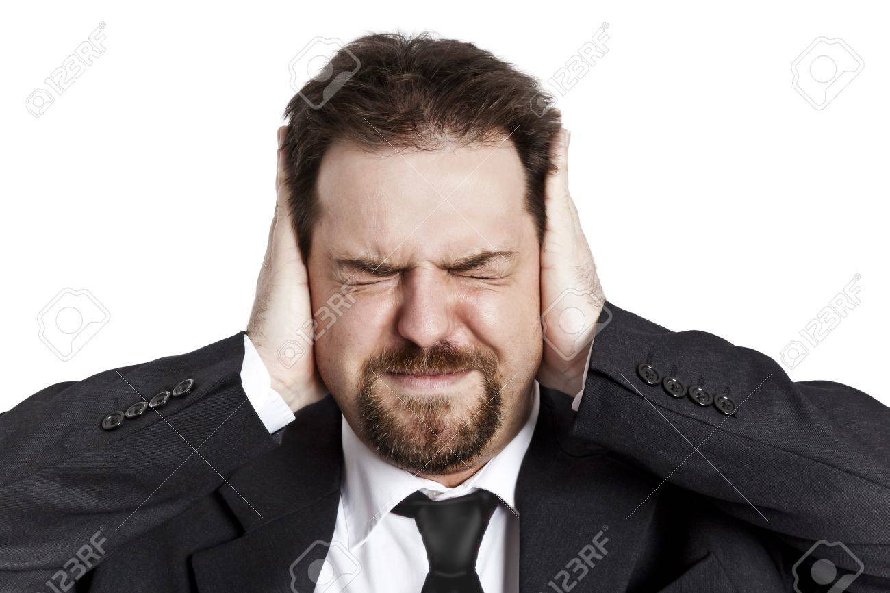 A stressed young man with closed eyes Stock Photo - 8775168