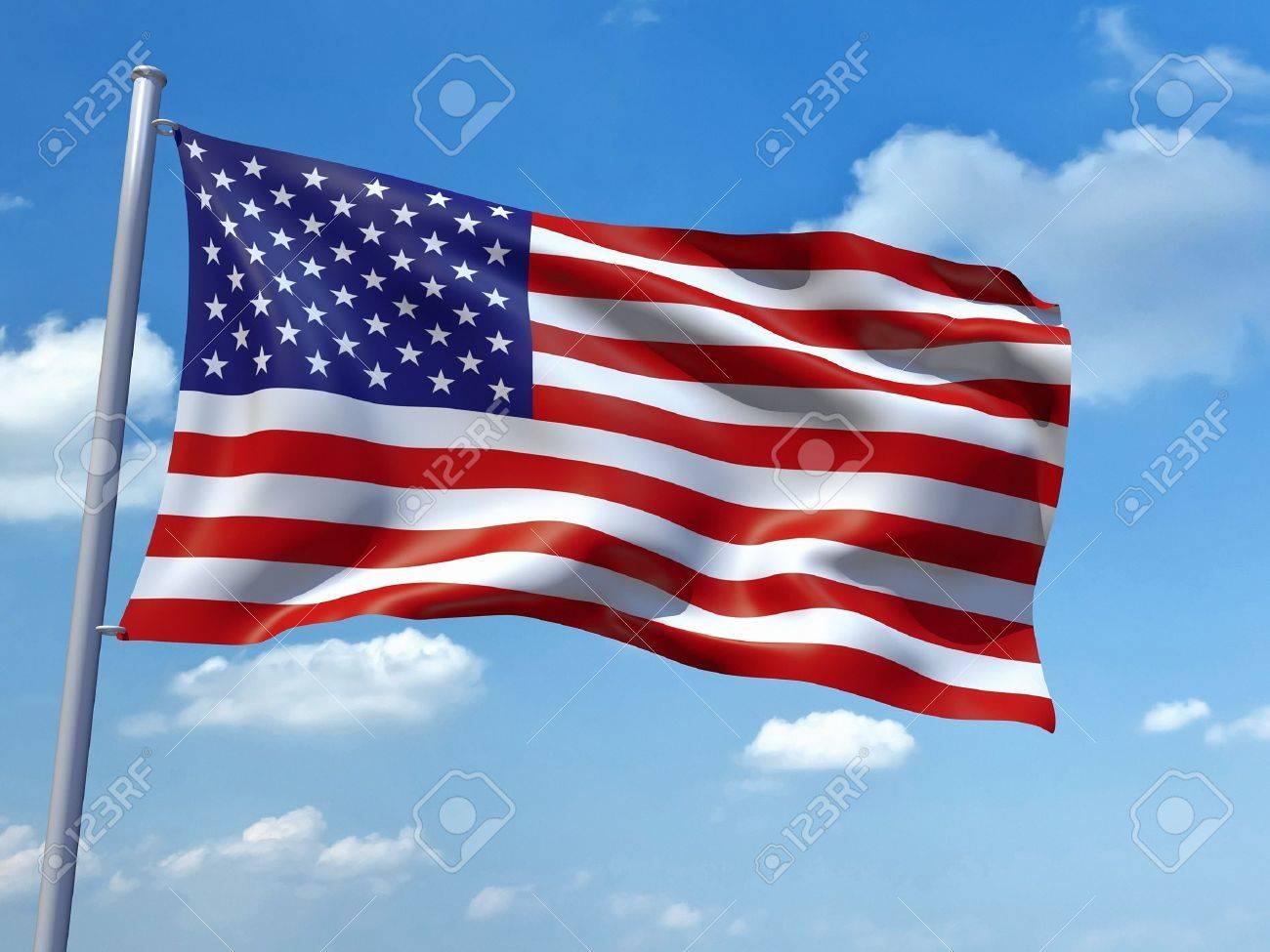 Una Imagen De La Bandera De Estados Unidos De América En El Cielo Azul  Fotos, Retratos, Imágenes Y Fotografía De Archivo Libres De Derecho. Image  9133647.