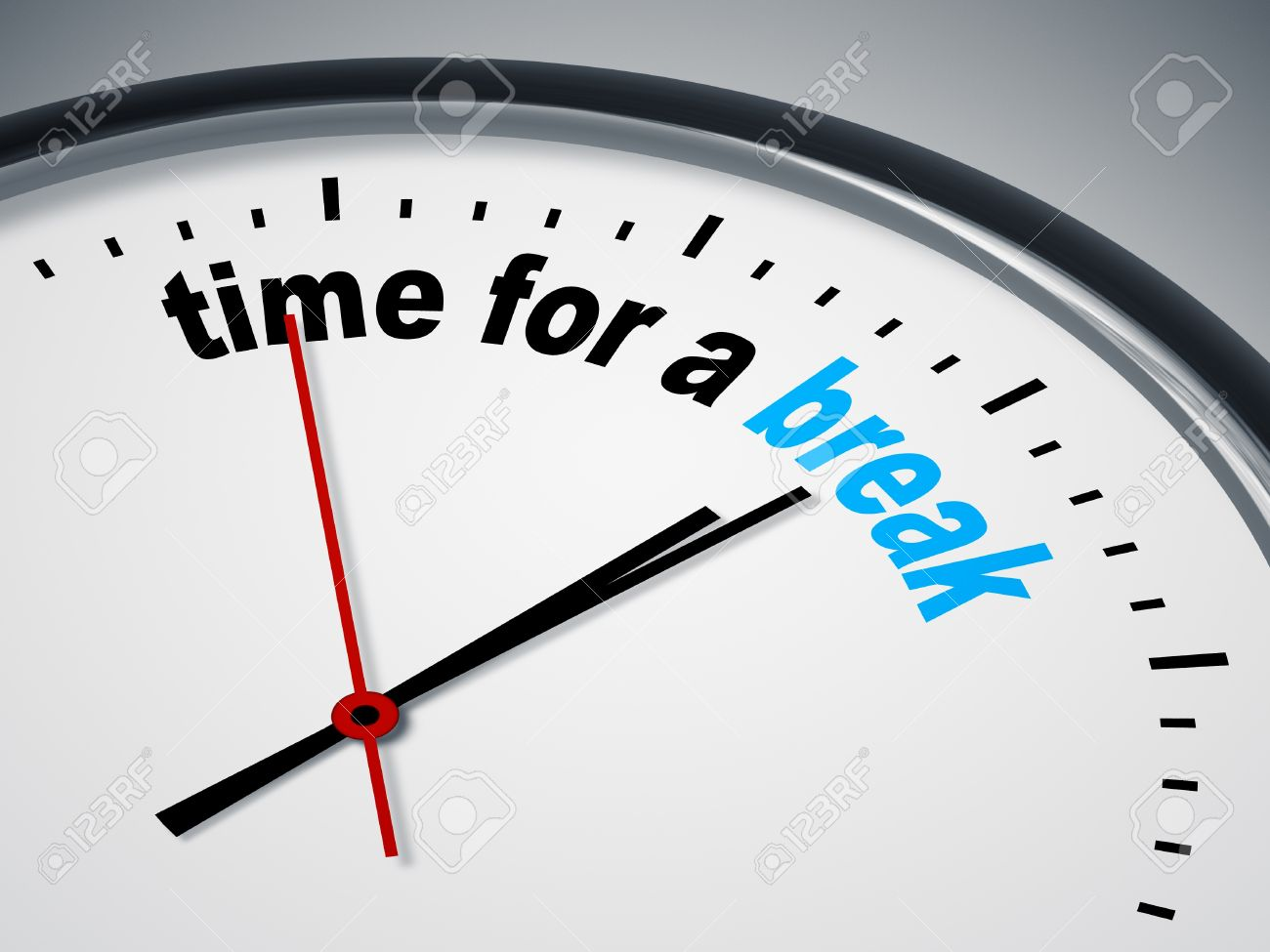an image of a nice clock with time for a break stock photo