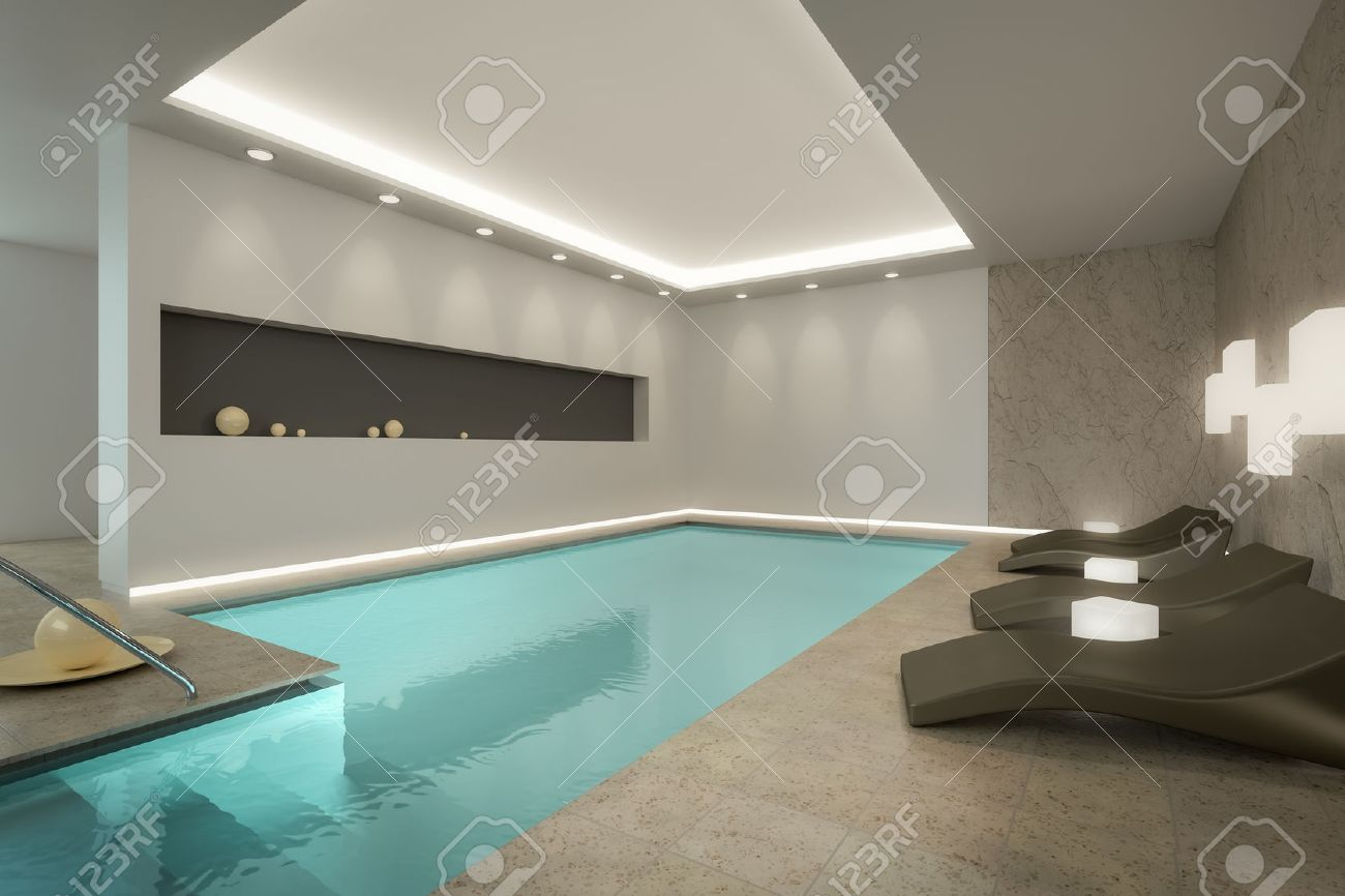 A 3D Rendering Image Of An Indoor Pool SPA Stock Photo, Picture ...