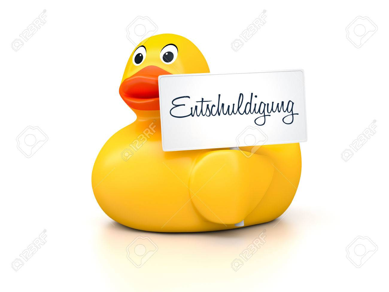 an image of a nice rubber duck with text sorry in german language