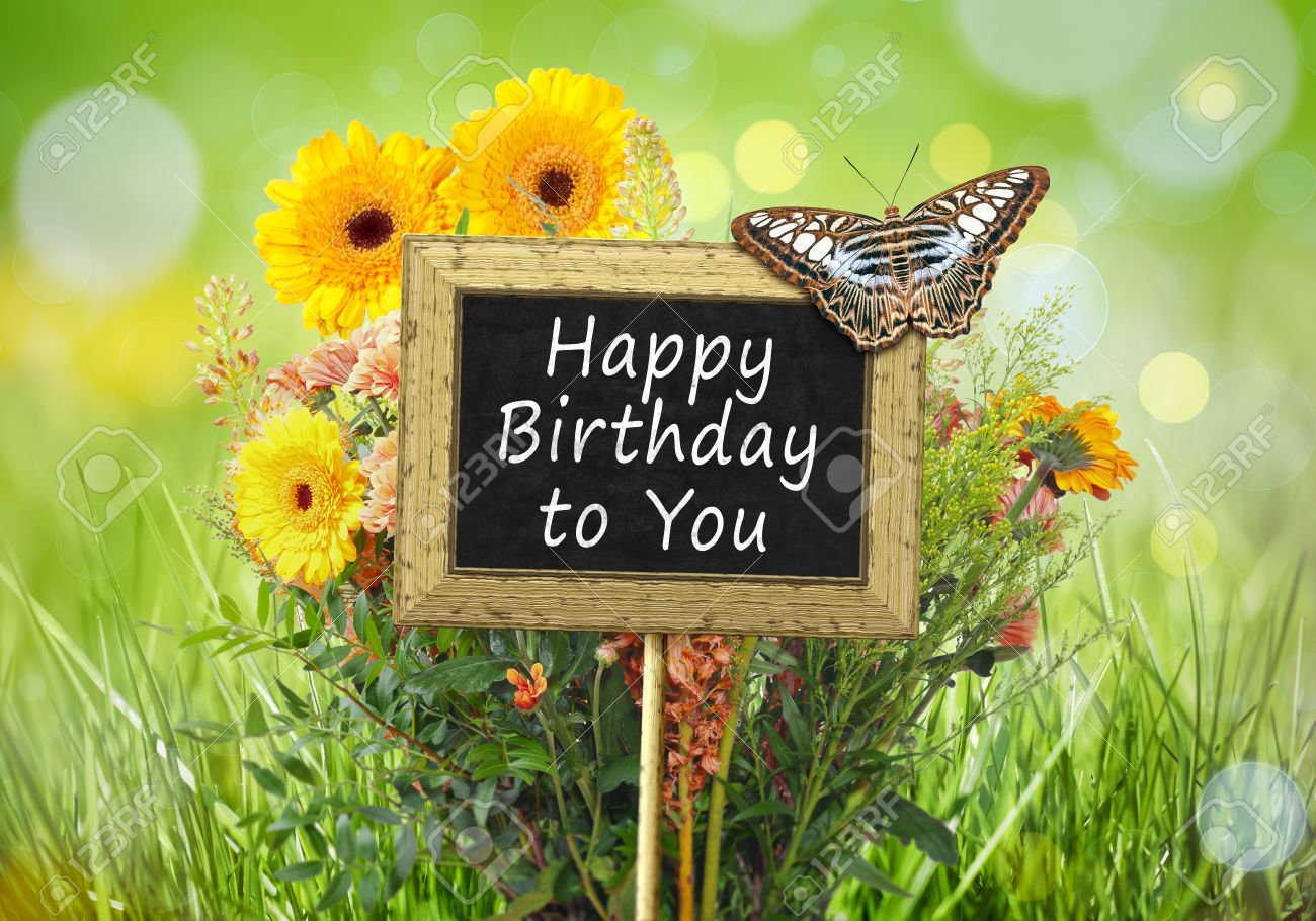 An Image Of A Little Chalkboard In The Garden With Text Happy Birthday To You