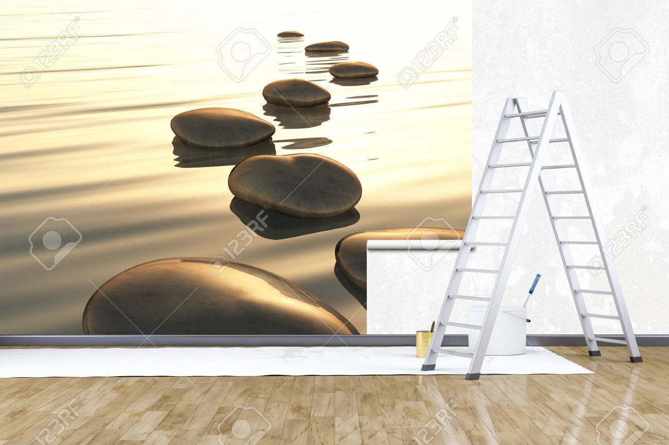 Great 3d Render Of Redecorate A Room With A Photo Mural Stock Photo   46034290