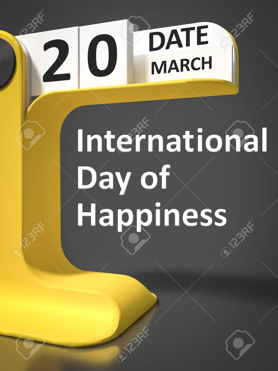 Calendario Internazionale.Vintage Calendario Giornata Internazionale Della Felicita 20 Marzo