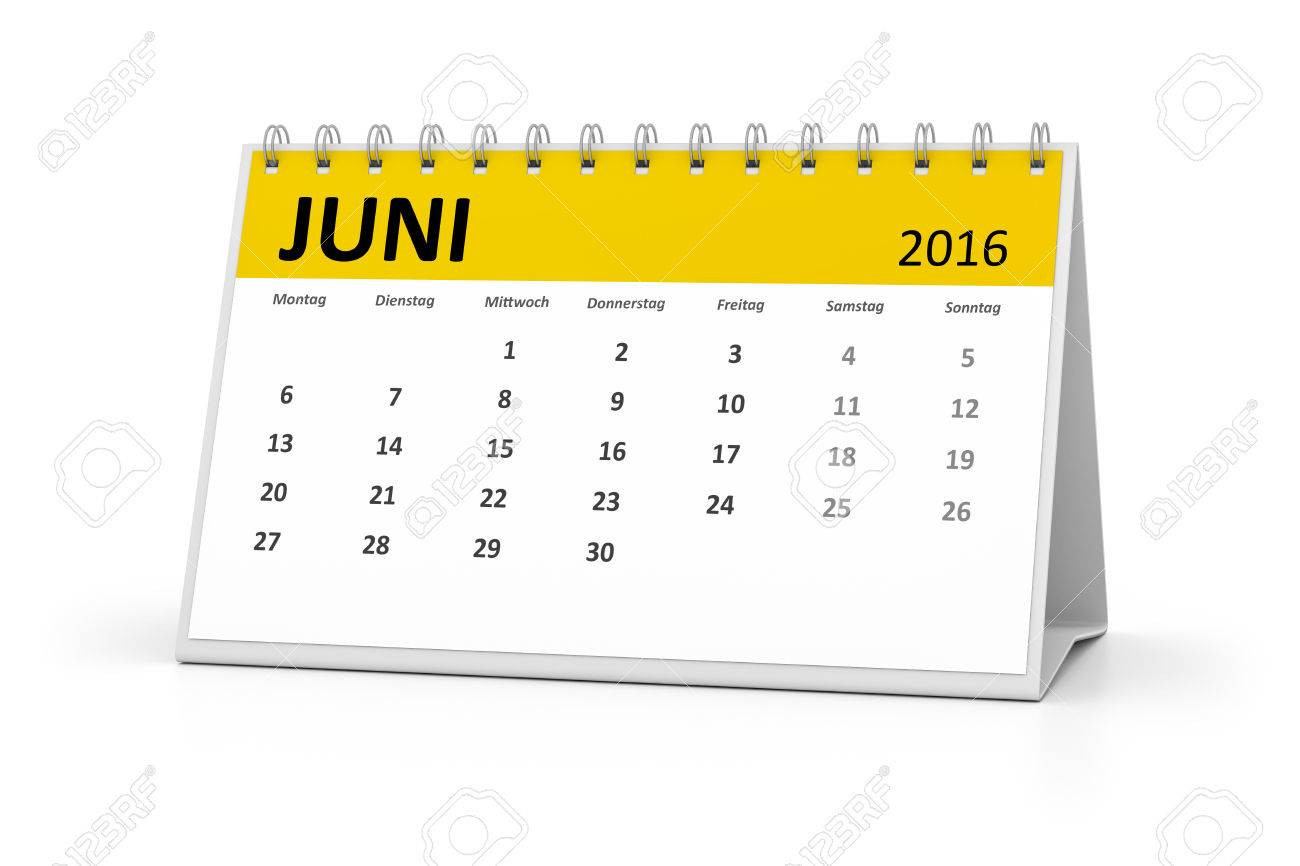 a german language table calendar for your events 2016 june stock