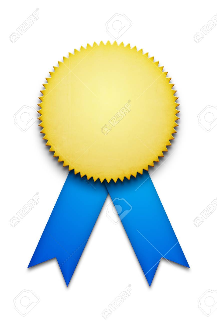 2d illustration of a blank award ribbon badge stock photo picture