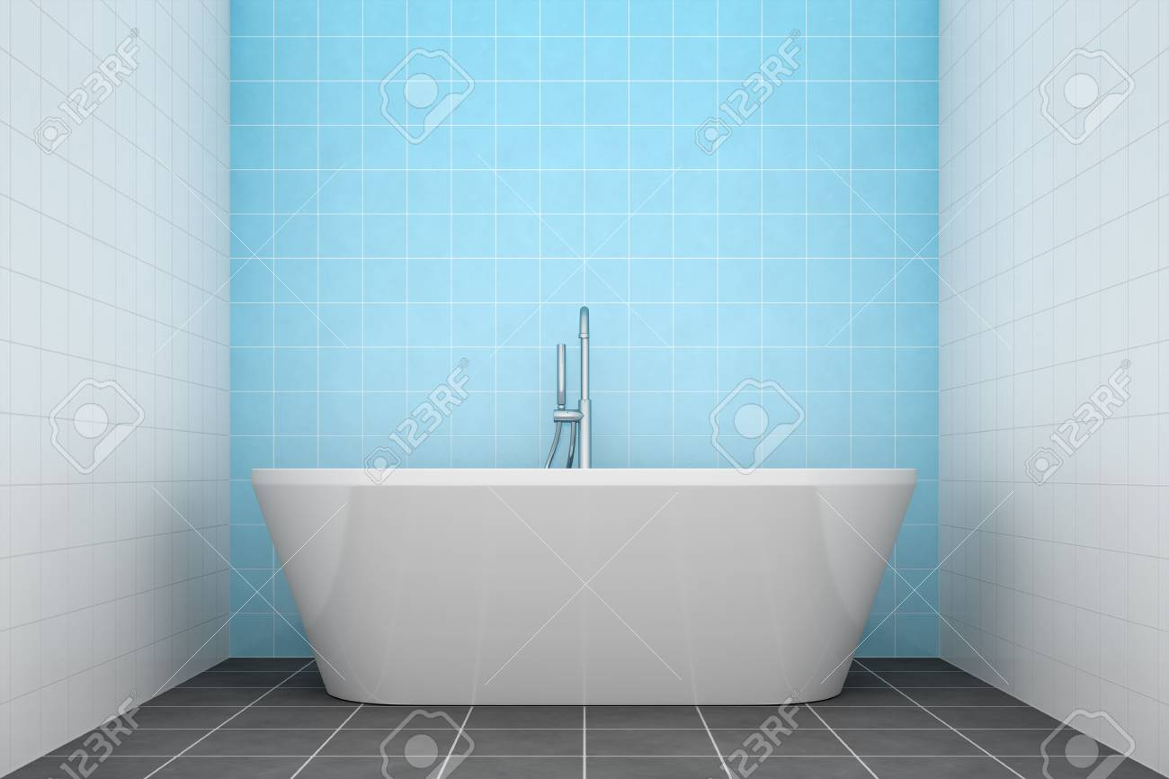 3d Rendering Of A Turquoise Bathroom Side View To The Tub Stock ...