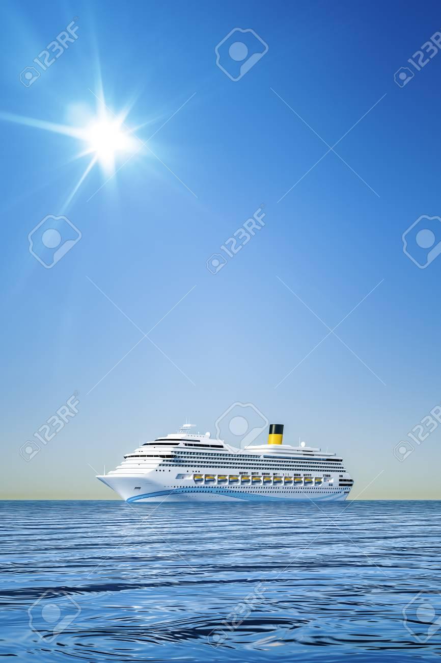 澄んだ青い空の前に白い船の 3 D...