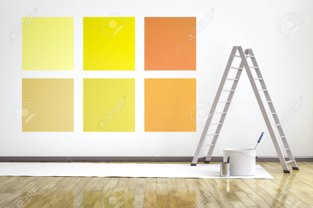 3d Illustration Of A Room With Six Different Colors On The Wall ...