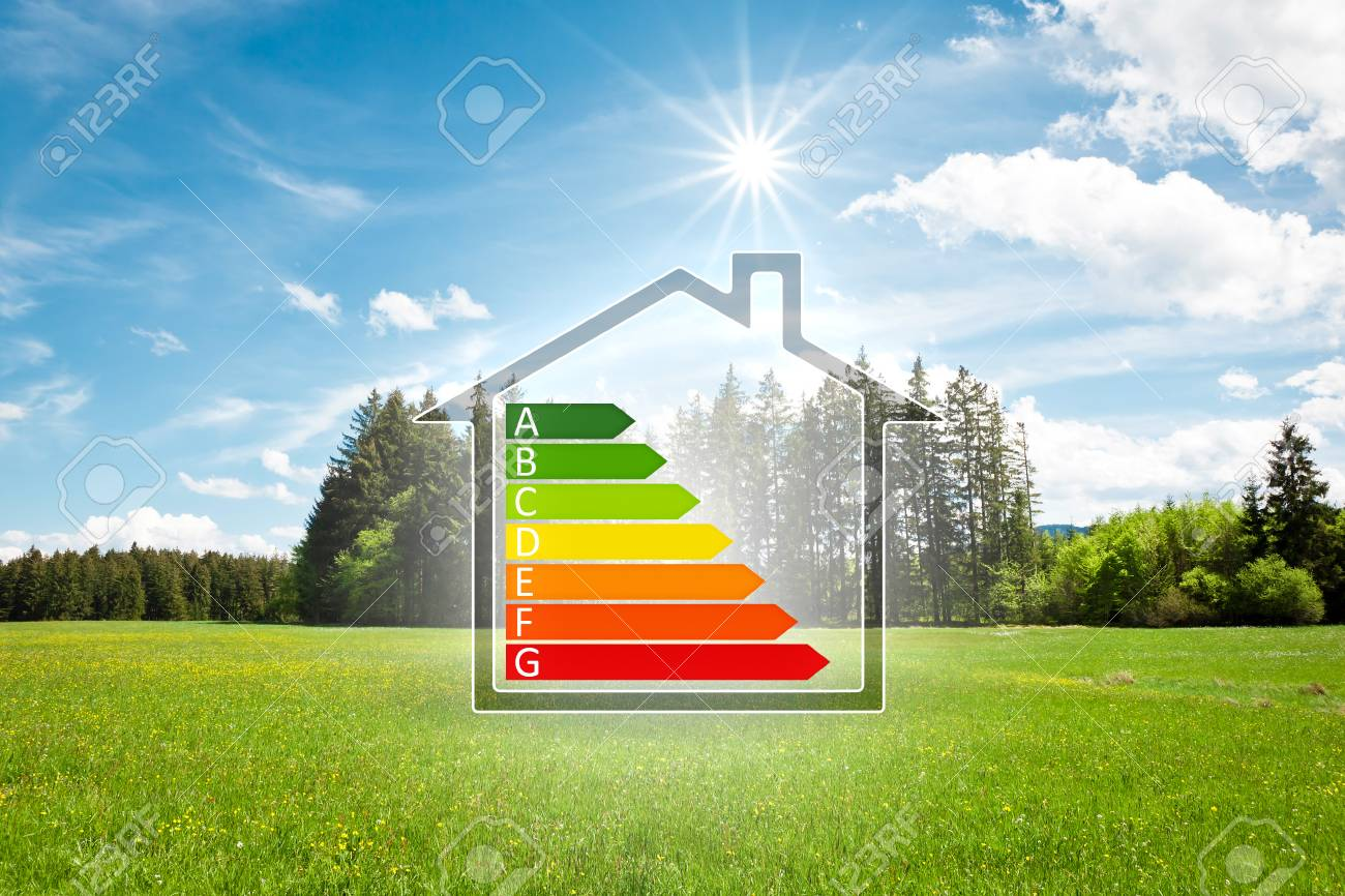 An image of a house in the green with energy efficiency graph - 111006776