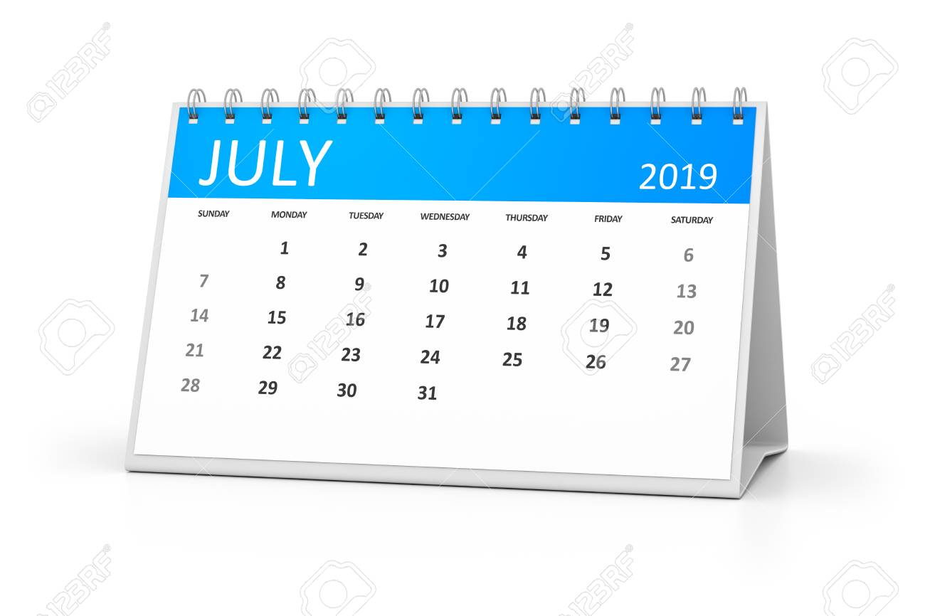 A Table Calendar For Your Events 2019 July 3d Illustration Stock