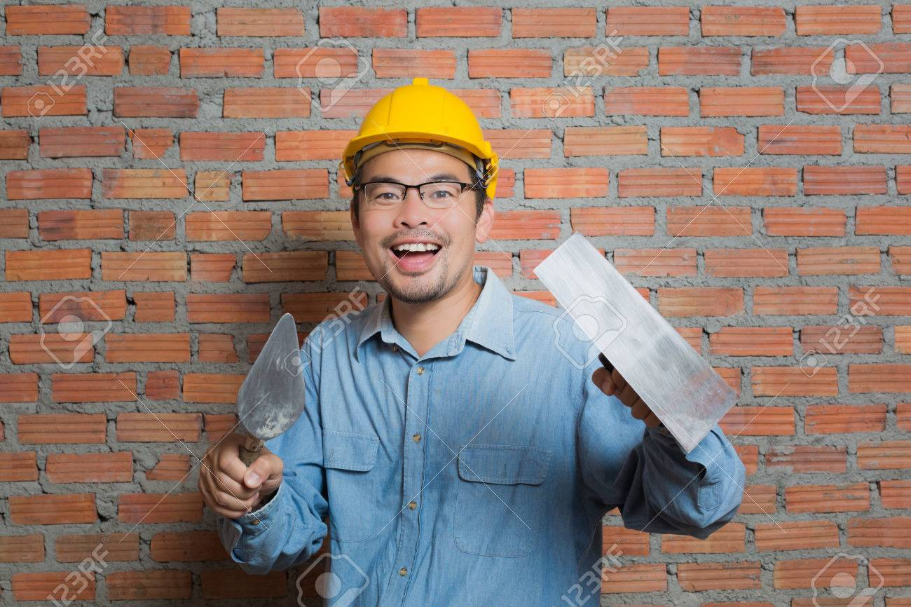 asian construction technician with his tools stock photo 47226480