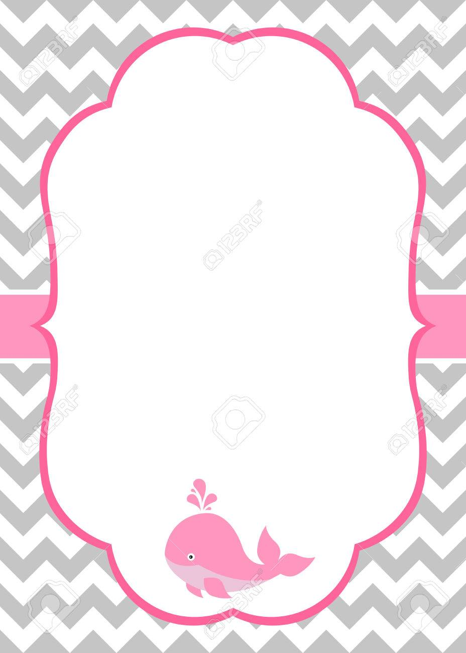 vector baby girl invitation card with baby whale and chevron