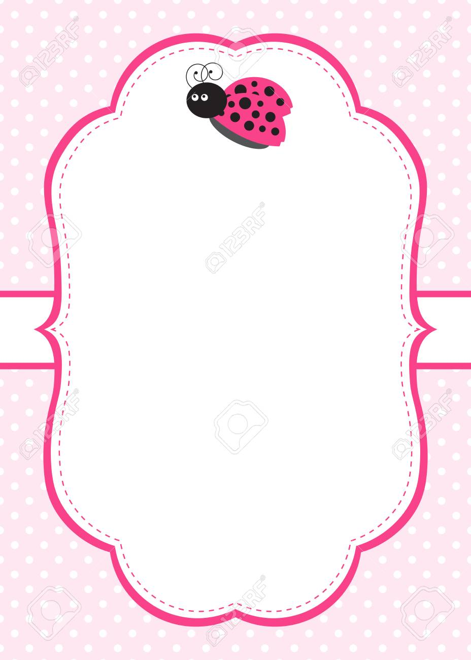 vector ladybug invitation template with polka dot background royalty
