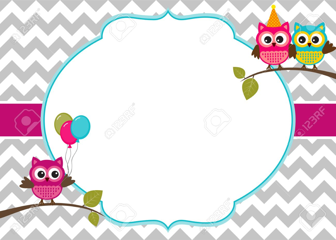 Owl Party Invitation Card Template With White Frame For Your ...
