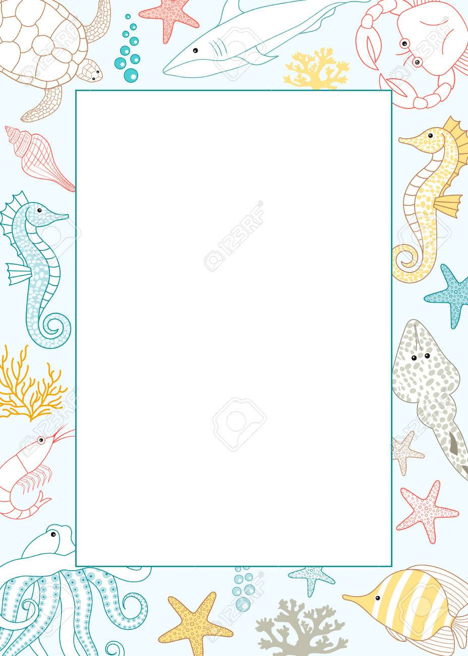 vector colorful under the sea card template royalty free cliparts