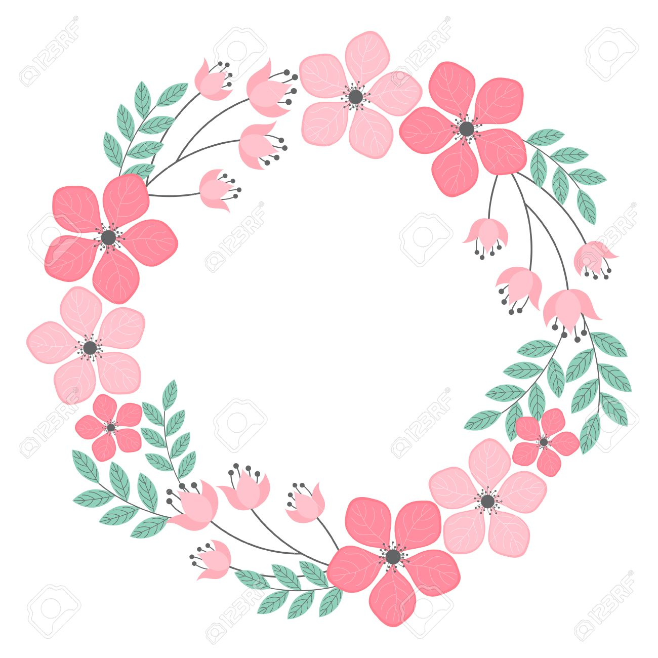 Vector Pastel Pink And Mint Floral Wreath Royalty Free Cliparts