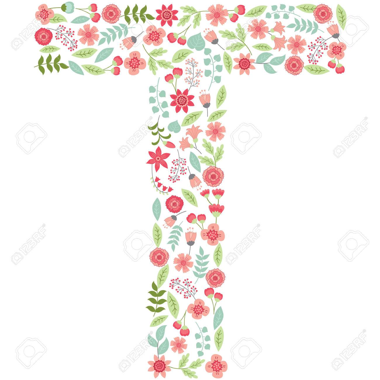 vector floral letter t the capital letter t is made of floral