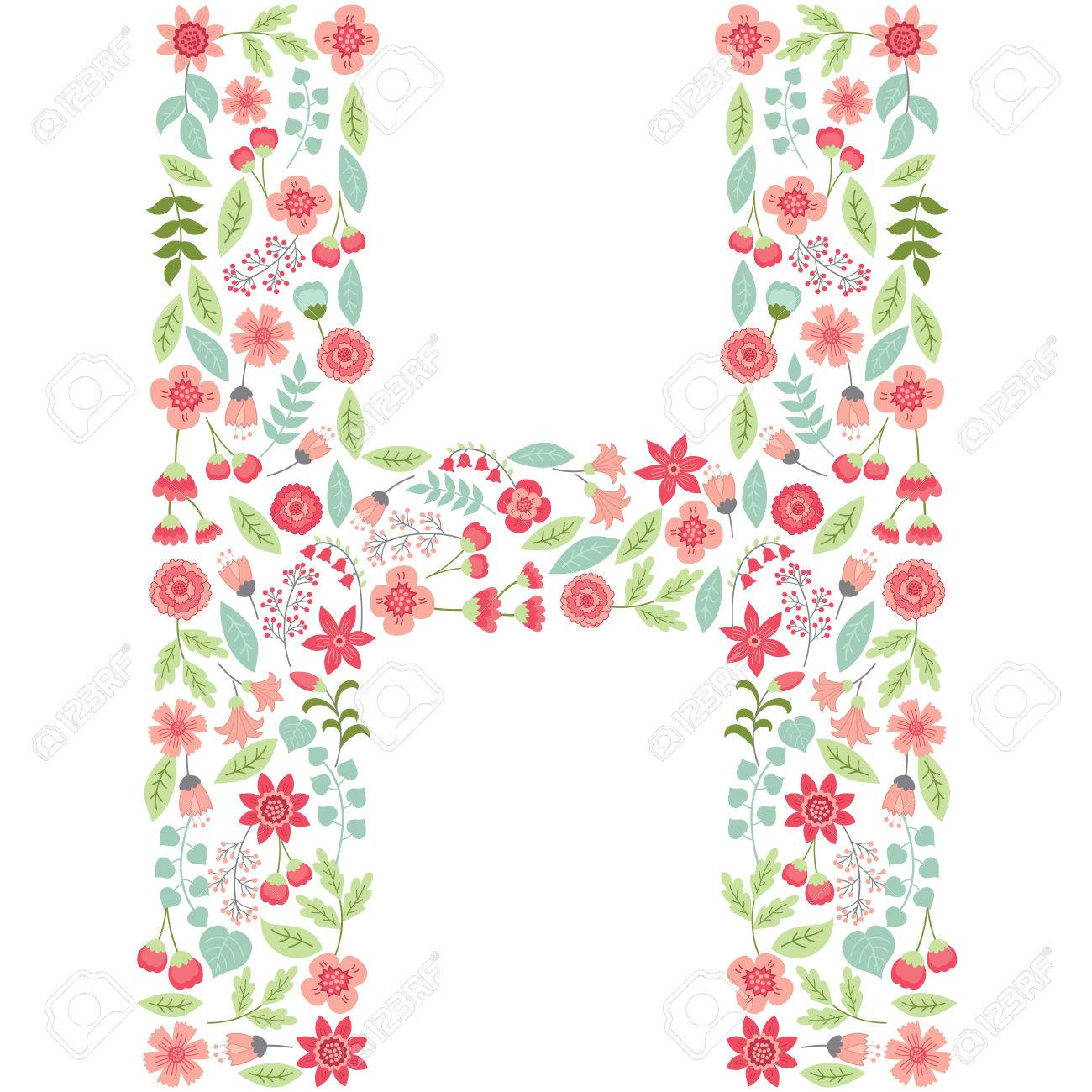 vector floral letter h the capital letter h is made of floral