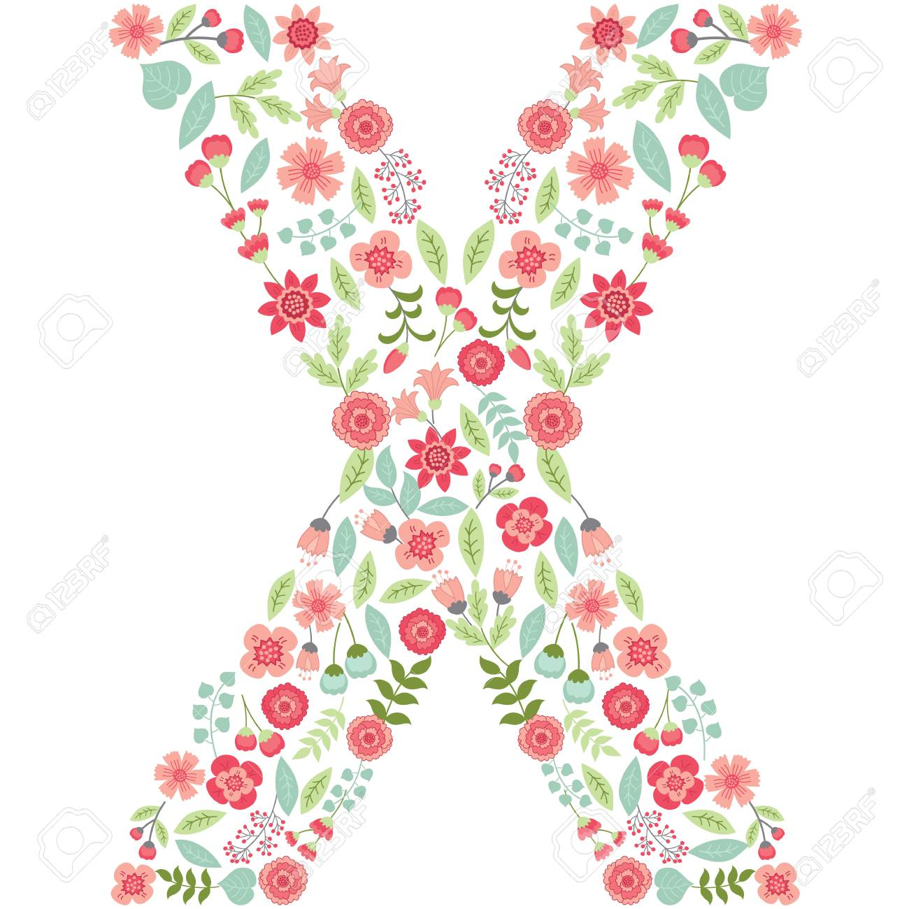 vector floral letter x the capital letter x is made of floral