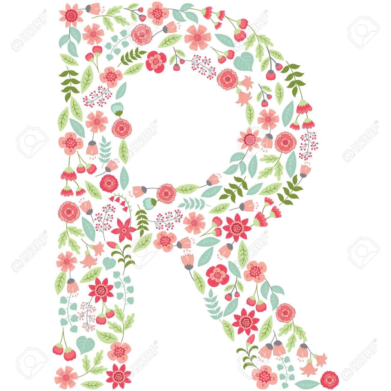 La Letra Mayúscula R Está Hecha De Elementos Florales - Flores ...
