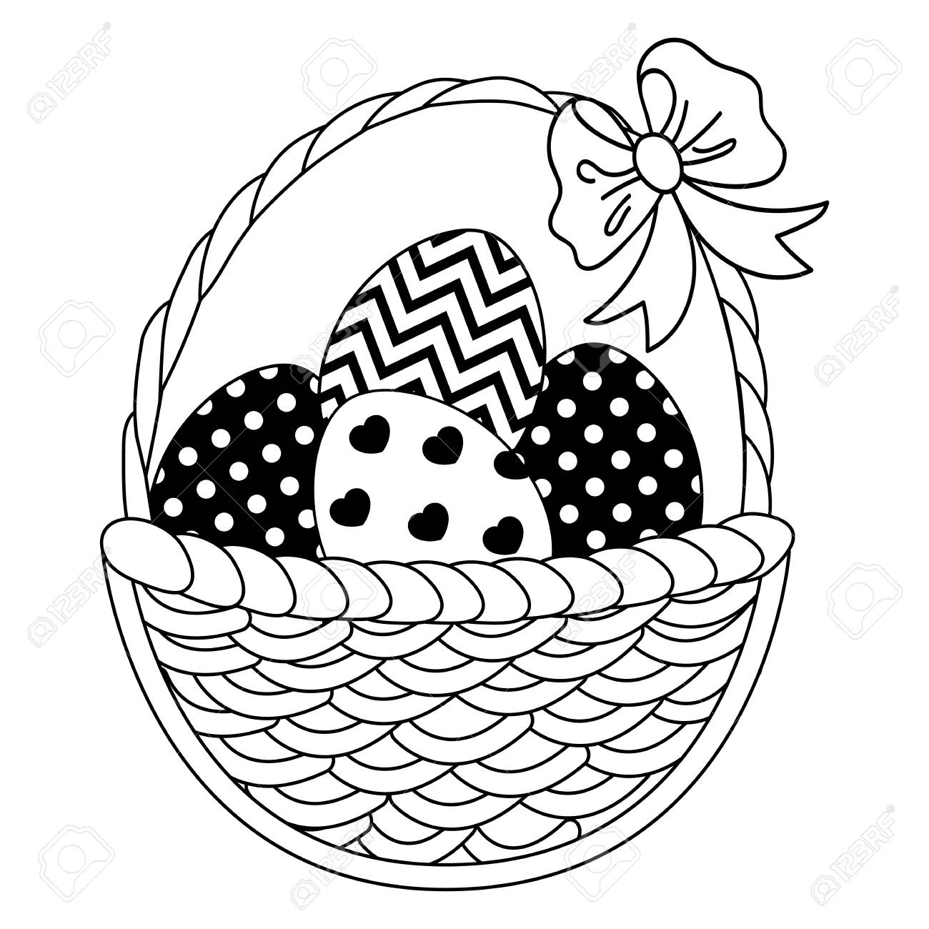 Vector Black And White Wicker Basket With Easter Eggs Vector