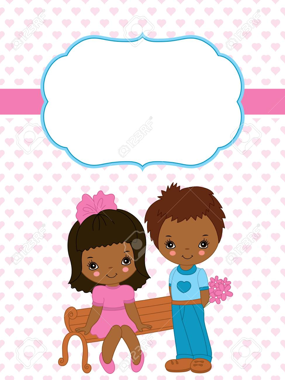 Vector valentines greeting card template with cute african american vector vector valentines greeting card template with cute african american little kids and small hearts background pattern card template for valentines m4hsunfo