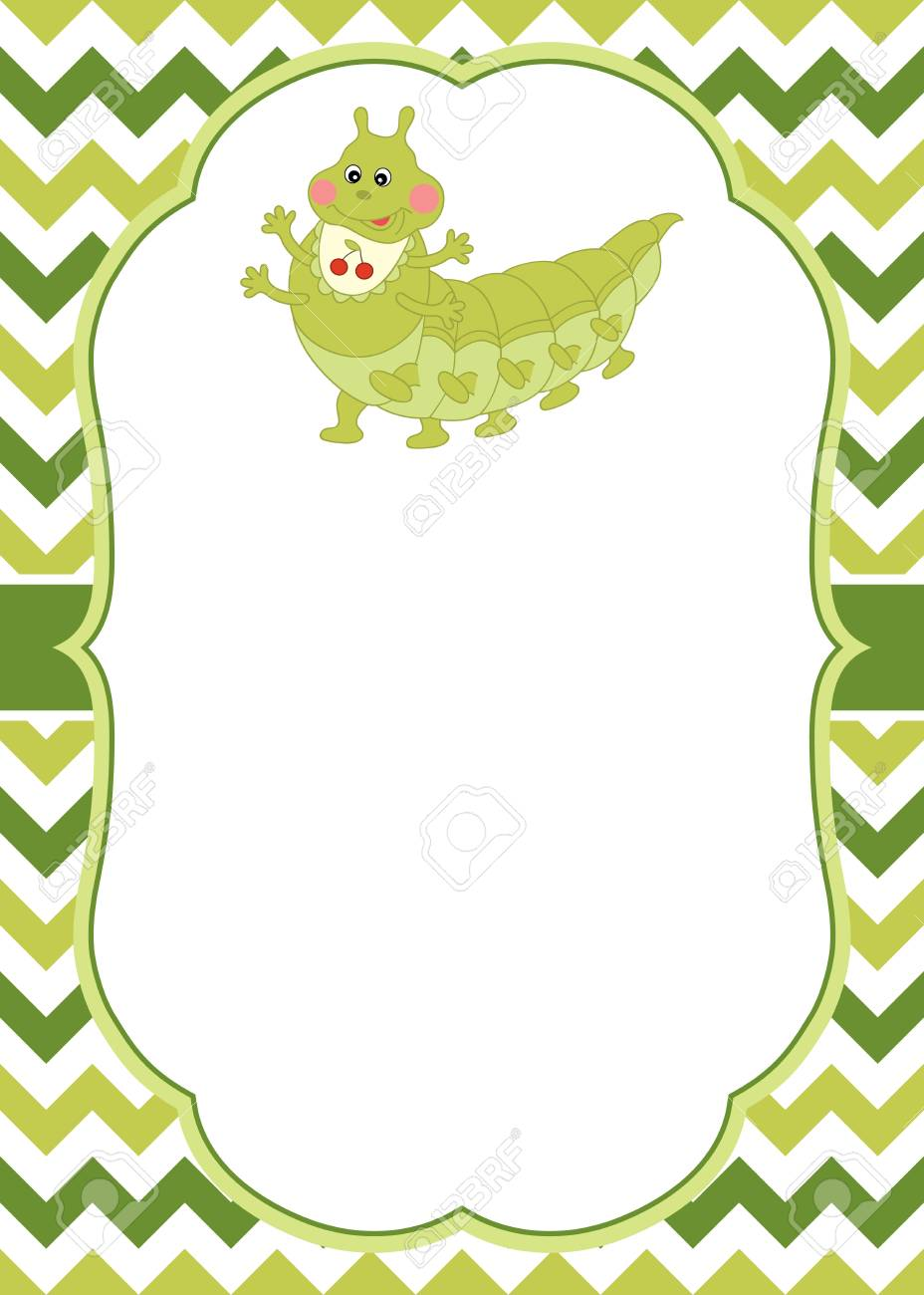 vector card template with a cute cartoon caterpillar on chevron