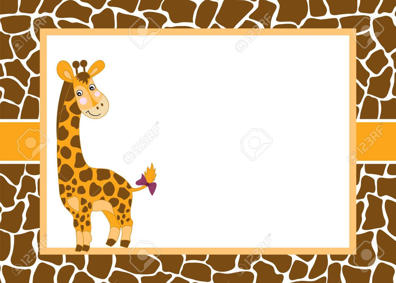 Vector Card Template With A Cute Baby Giraffe On Spotted Skin ...