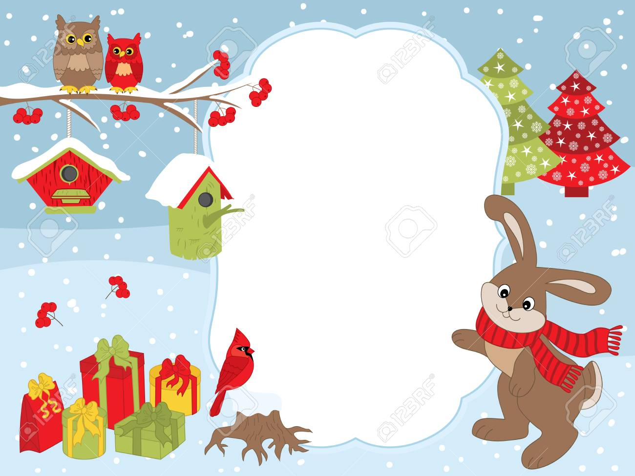 vector vector christmas and new year card template with a cute rabbit owls on the branch cardinal birdhouses gift boxes on snow background