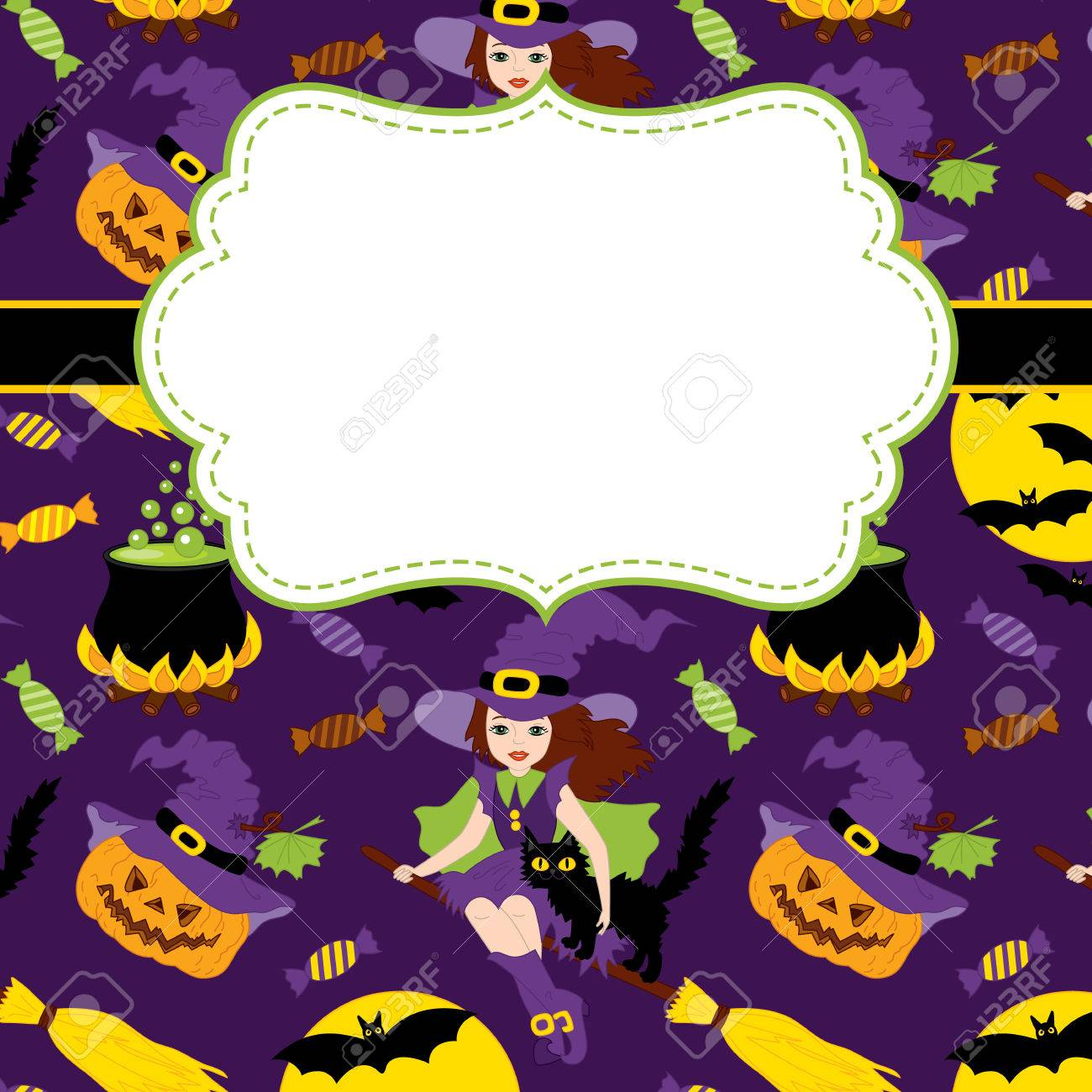 Vector Karte Vorlage Mit Einem Rahmen Und Halloween Elemente Auf