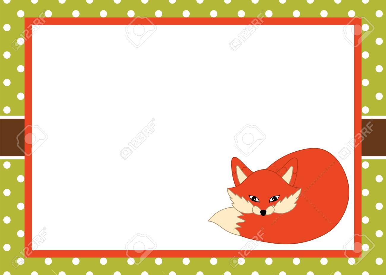 Vector Card Template With A Cute Fox On Polka Dot Background