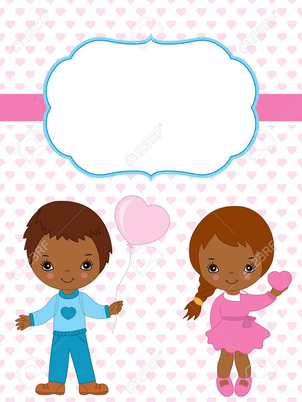 vector valentine s card template with cute african american little