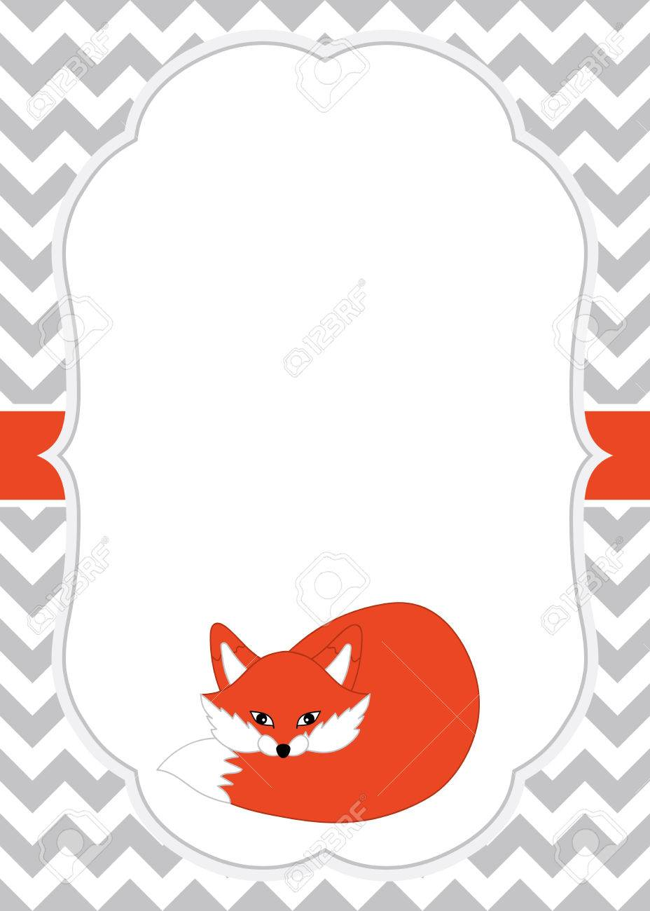 Vector Card Template With A Cute Fox On Chevron Background Card