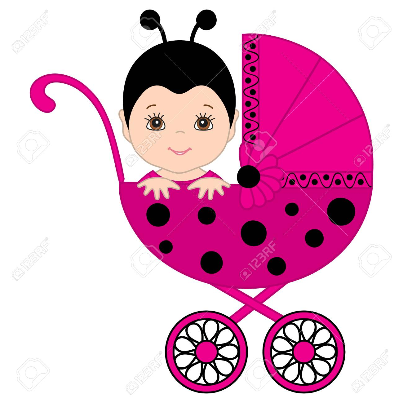 8f77a4b2fd19 Vector Cute Baby Girl Wearing Pink And Black Ladybug Costume ...