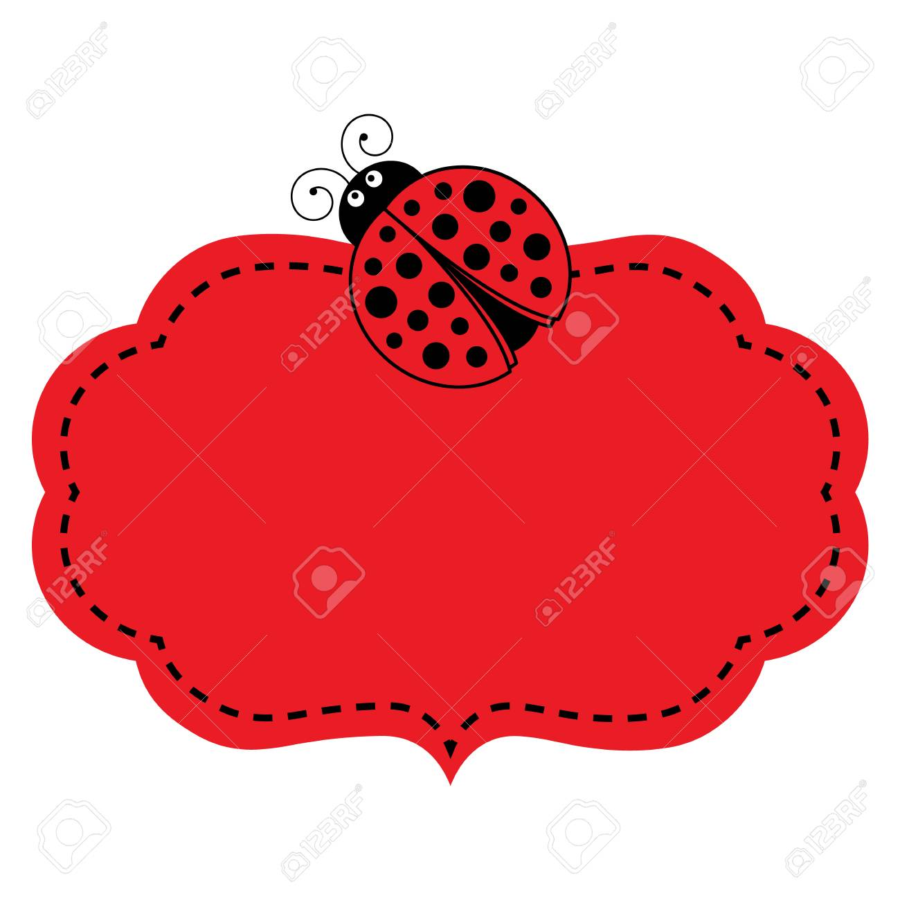 Vector red frame with ladybug image and stitching vector frame vector vector red frame with ladybug image and stitching vector frame vector illustration stopboris Images