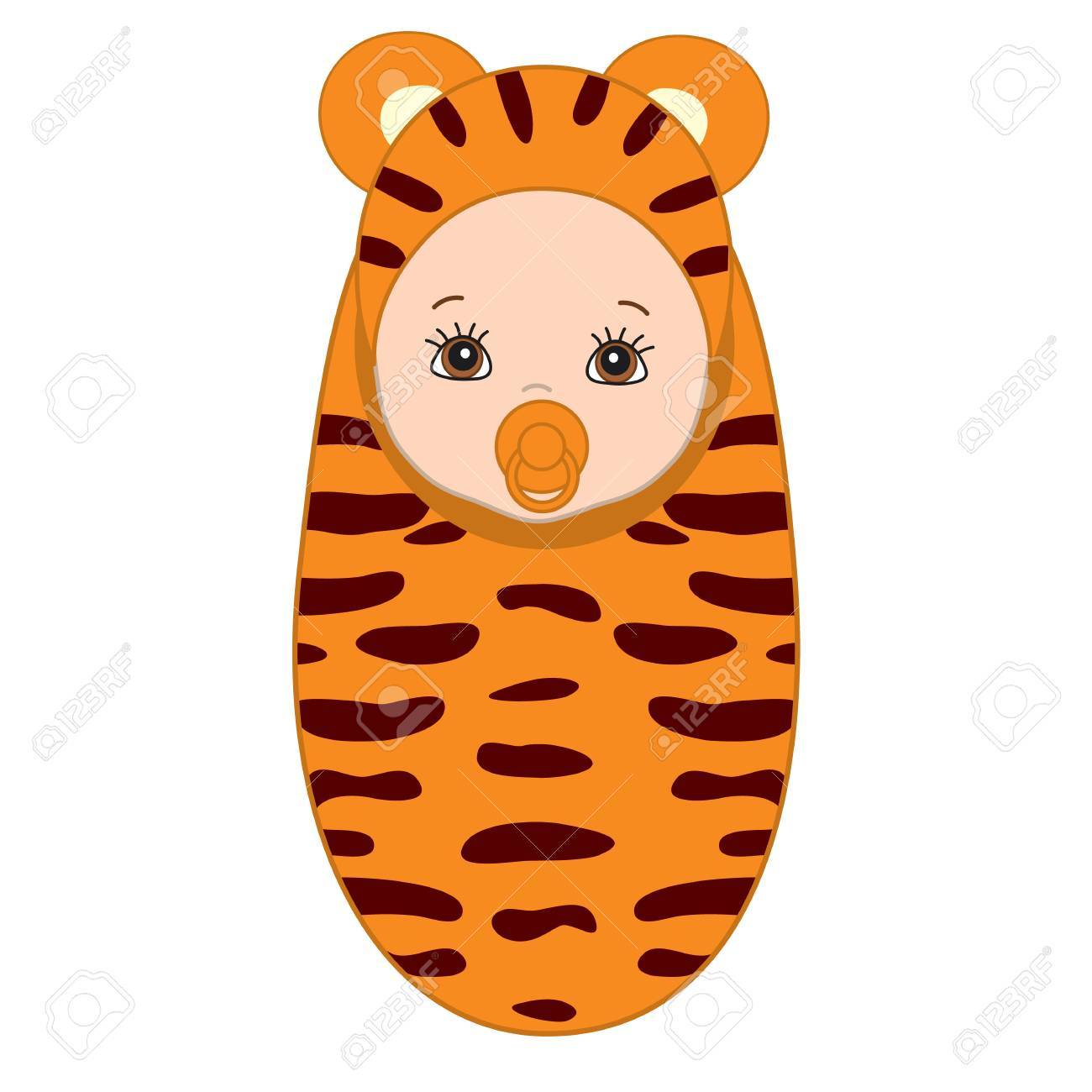 vector cute baby wrapped in blanket with tiger pattern baby rh 123rf com Tiger Girl Wallpaper Tiger Clip Art Girls Playing